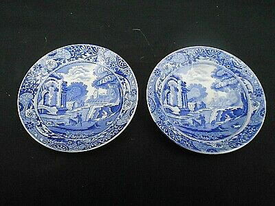2 X Sml.Early Blue & White * SPODE ITALIAN * Coffee Can Saucers (Blue Backstamp) • 9.99£