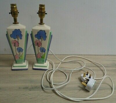 Vintage Clarice Cliff Willow Fan Art Deco Lamp Bases Working X 2 • 69£