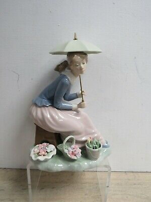 Nao By Lladro Figure Figurine Lady Sitting With Umbrella Flowers Ornament • 50£