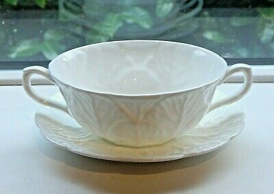 Vintage Coalport Countryware Soup Bowl & Saucer - White Cabbage Leaf - As Found  • 4.99£