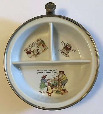 GW Co Baby Warming Dish W/ Old King Cole & Mary Quite Contrary Divided Vintage • 22.09£