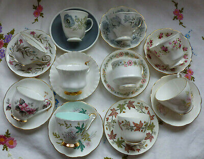 VINTAGE ENGLISH CHINA TEA CUPS SAUCERS X 10 MATCHED DUOS  • 45£