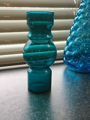 Vintage Retro Style Hooped Scandi Style Glass Vase Peacock Blue • 20£