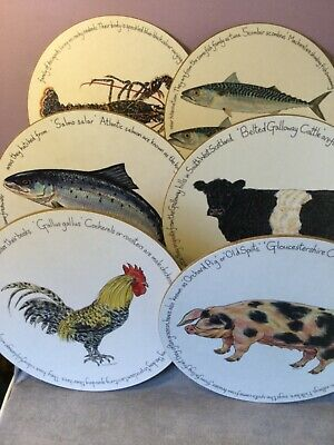 Set 6 Melamine & Cork ROUND PLACEMATS For JERSEY POTTERY By RICHARD BRAMBLE • 9.99£