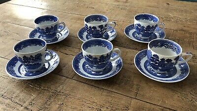 Antique Swinnertons / Ridgway Blue And White Oriental China Tea Cups And Saucers • 20£