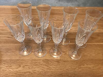 Eight Crystal Champagne Flute Glasses • 6.10£