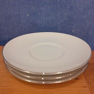 Thomas China Thin Platinum/silver Saucers X 3 16cm Diameter • 3£