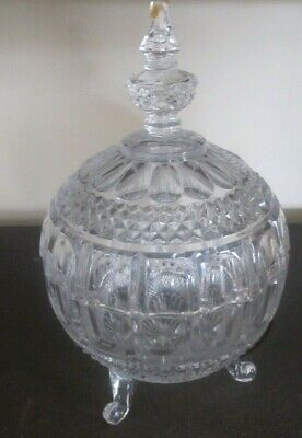 Large Vintage Cut Glass Dressing Table Container With Lid. • 10£