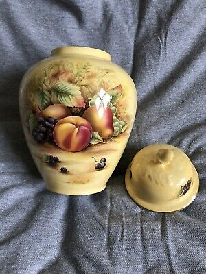 Aynsley Fine Bone China Orchard Gold Ginger Jar 8  Tall Lidded Pot (chip On Lid) • 9.99£