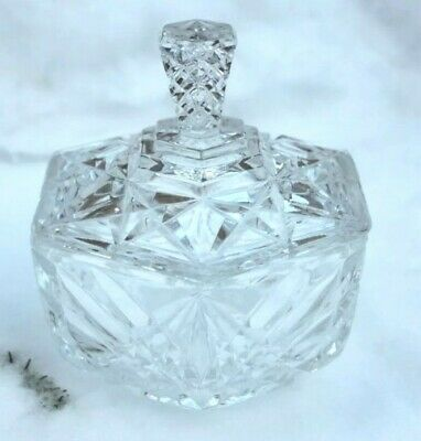 Vintage Cut Glass Crystal Pentagonal Bonbon Jar Pot • 4.99£