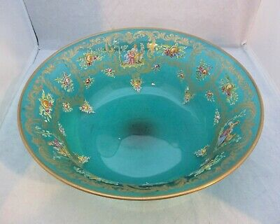 Vintage Hand Blown Green Glass Fruit Bowl With Hand Painted Classical Scenes. • 28£