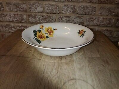 Vintage Serving Dish / Bowl Old Foley Staffordshire Yellow Roses Gold Rim • 10.50£