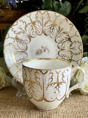 Antique Staffordshire Teacup And Saucer Gilded 'Leaf' Numbered • 34.99£
