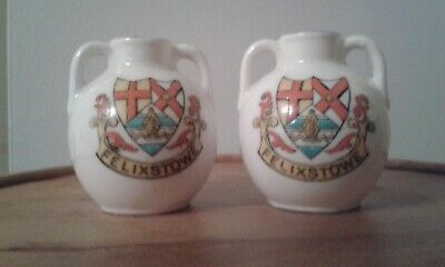 Arcadian  China Crested Jugs,felixstowe Jugs 2 H Approx.tidy Condition. • 20£