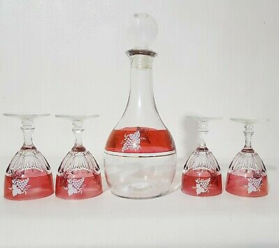 VINTAGE FIDENZA ITALY Italian Cranberry Red Clear Decanter 4 Wine Glasses Set • 31.99£