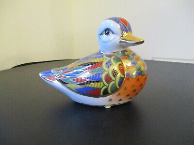 Multicoloured & Gold Pottery Little Duck Beautiful Painted VGC • 3.99£
