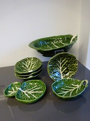 Set Of 7 Cabbage Leaf Bowls Made In Portugal Large Bowl Small Bowls • 29.99£