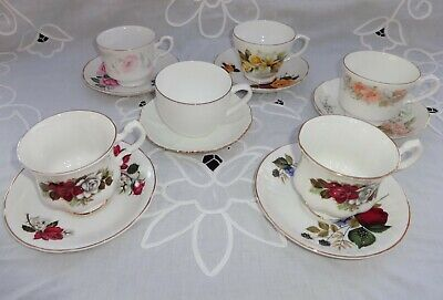 Vintage English China Pretty Mismatched Cups & Saucers X 6 • 12.99£