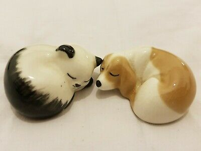 Vintage Szeiler Pottery Cute Animals Sleeping Cat And Dog • 8.99£