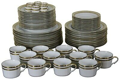 60 Pc Christian Dior Gaudron White & Gold China Set Plates Bowls Tea Cups Rings • 1,457.71£