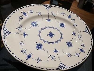 Denmark Fernivals Blue And White Oval Serving Plate • 7.99£
