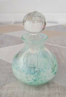 Caithness Swirl Turquoise Art Glass Perfume Bottle With Stopper & Label • 12.99£