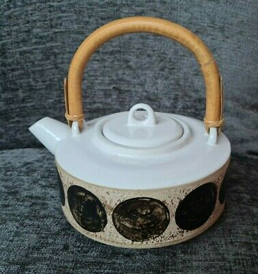 Troika Rough Textured Teapot Smooth Glossy St Ives Cornwall | Bamboo Cane Handle • 51£