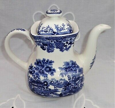Alfred Meakin Blue & White 'Tonquin' Coffee Pot 8.5  Tall 9.5  Handle - Spout • 12.99£