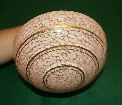 Genuine Antique Art Deco Pink Mottled Glass Lamp Shade With Gold Detail • 35£