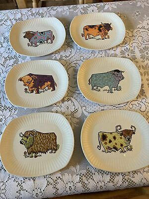 Set Of 6 Vintage Beefeater Steak Plates Ironstone With Hangers Kitsch Retro Bull • 48£