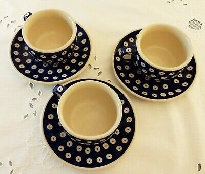 Boleslawiec Set Of Three Blue Dots Cups And Saucers • 0.99£
