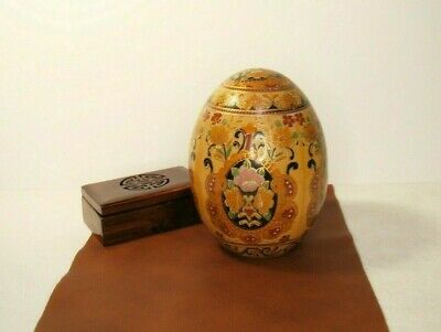"1 Pair Antique Vintage Royal Satsuma Egg 14"" Heavy Gold Moriage Hand Painted • 79.95£"