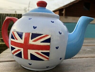 Union Jack Teapot. Hand Painted Red, White And Blue Teapot • 24£