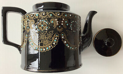 Large Antique? Victorian? Mourning? Jackfield Teapot - Decorative Duties Only! • 3£