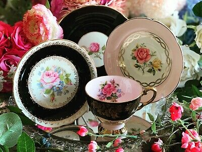 Mis-match Vintage Tea Plate, Tea Cup & Two Saucers Pink & Black. Roses • 24.99£