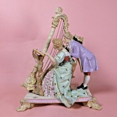 CONTINENTAL ANTIQUE FIGURE OF LADY PLAYING HARP WITH GENTLEMAN - DRESDEN? C.1850 • 57.88£