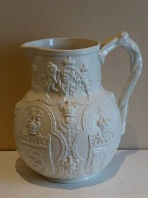 Relief Moulded Albion Jug William Brownfield 1863 Edward Prince Of Wales Wedding • 48£