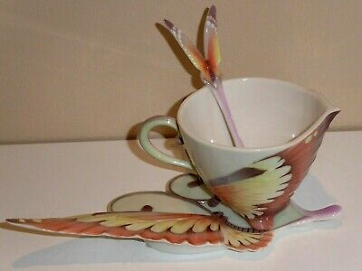 Butterfly Fantasy Papillon Franz Porcelain Cup & Saucer With Spoon XP1907 • 48£