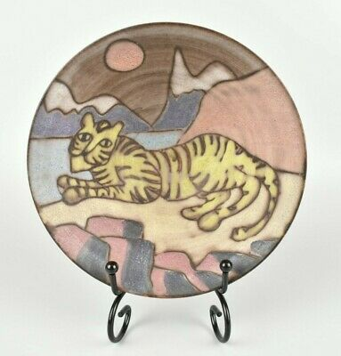 Tessa Fuchs; Earthenware Bowl, Cone Form, Hand Decorated With Recumbant Tiger Be • 25£
