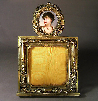 SUPERB LARGE 19th. CENTURY PICTURE FRAME &  HAND PAINTED PORCELAIN MINIATURE • 500£