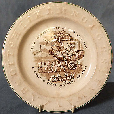 SUPERB MID 19th. CENTURY GEORGE JONES CREAMWARE NURSERY WARE ALPHABET PLATE • 65£