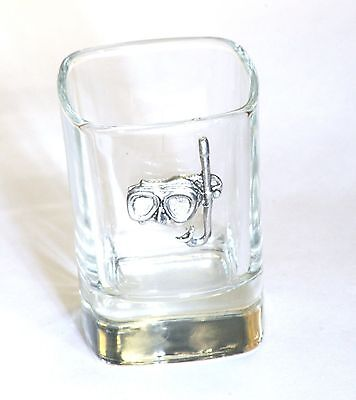 Diving Mask And Snorkel Pewter Emblem Crystal Shot Tot Glass Ideal Gift  229 • 49.99£