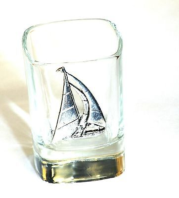 Yacht Pewter Design Crystal Shot Tot Glass Ideal Sailing Gift Award Present 405 • 49.99£