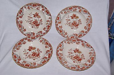 4 X Antique 10.25  Rimmed Soup Bowls Copeland Pattern 2 1109 Indian Tree 1879 • 30£