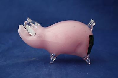 Langham Glass Hand-made Crystal Small Pink Pig Standing - New / Boxed • 49.95£