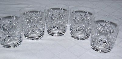 A Set Of Five Cut Crystal WhiskyTumblers Spirit & Mixer Old Fashioned Glasses  • 25£