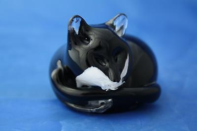 Langham Glass Hand-made Small Crystal Black And White Cat At Rest - New / Boxed • 44.95£
