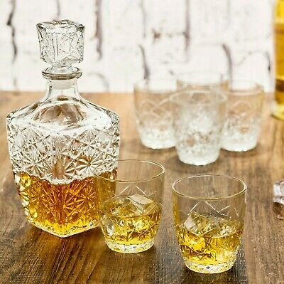 7 Pc Bormioli Rocco Whisky Decanter & Whiskey Tumblers Wine Glasses Gift Box Set • 11.99£