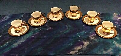 Thun 6 Vintage Gold/cream Cups And Saucers, Excellent Condition. • 20£