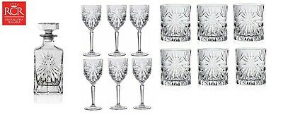 RCR Oasis Crystal Glassware Decanter, Whisky Tumblers & Wine Glass Set  • 200£